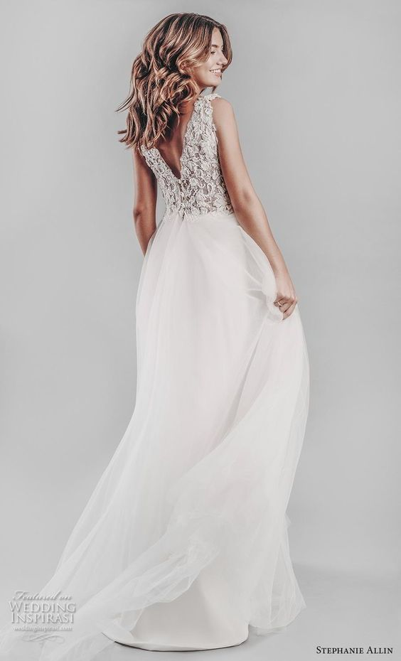 stephanie allin 2019 bridal sleeveless v neck heavily embellished bodice romantic a  line wedding dress open v back chapel train (13) bv -- Stephanie Allin 2019 Wedding Dresses | Wedding Inspirasi #wedding #weddings #bridal #weddingdress #bride ~