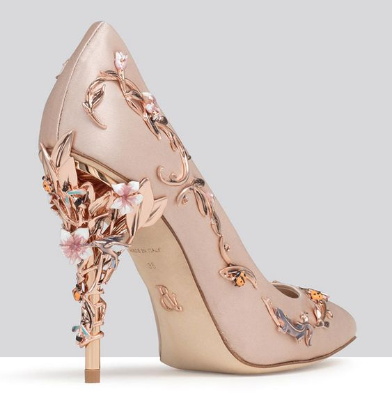 Pink Wedding Shoes With Rose Gold Heels ~ Eden Eve Pump in pink satin