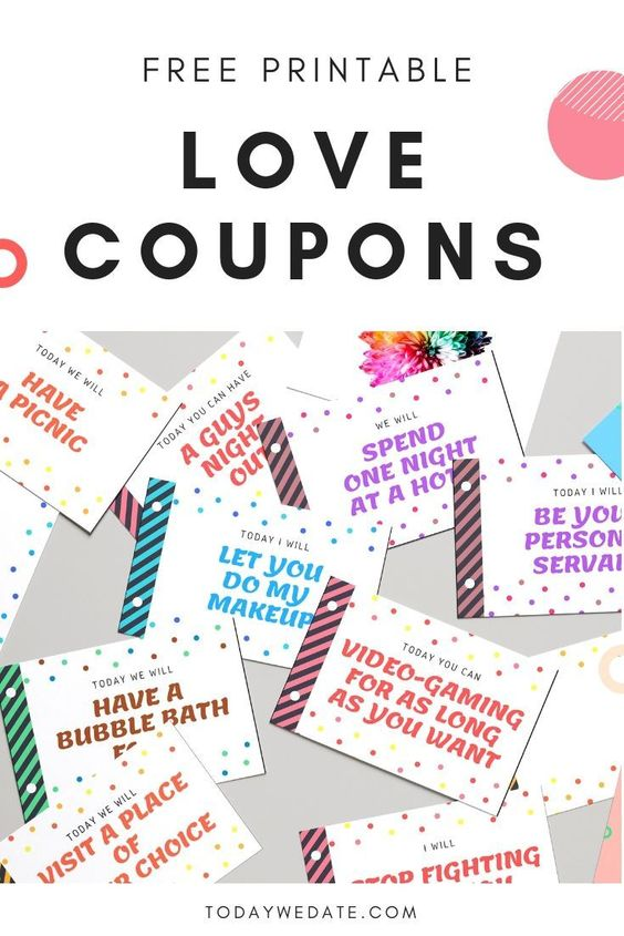 Perfect DIY gift for him - Free Printable Love Coupons - TodayWeDate.com ./ / / / / / printable love coupon/printable love coupon for him/diy gift for boyfriend/easy diy gift/cheap diy gift/diy gift for men/unique diy gift/diy gift for husband/diy gift ideas/cute diy gift/ /last minute diy gift/ Christmas gift 2018/ valentine's day gift 2019/inexpensive diy gift/romantic diy gift/diy gift love/merry christmas