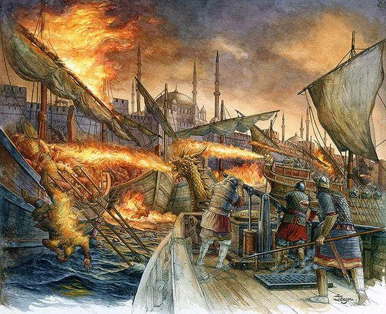 Byzantines defending Constantinople