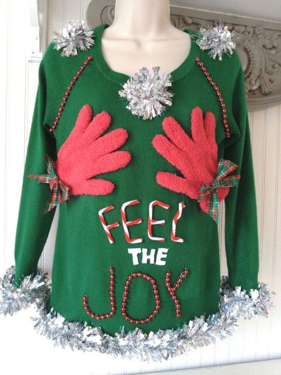 FEEL THE JOY! NaughTY sexy UGLY CHRISTMAS SWEATER WOMENS SIZE SMALL Petite #Forever21 #VNeck