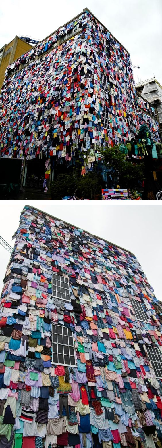 """""""schwopping project"""" in London. 10,000 pieces of clothing pinned to the facade of a building."""