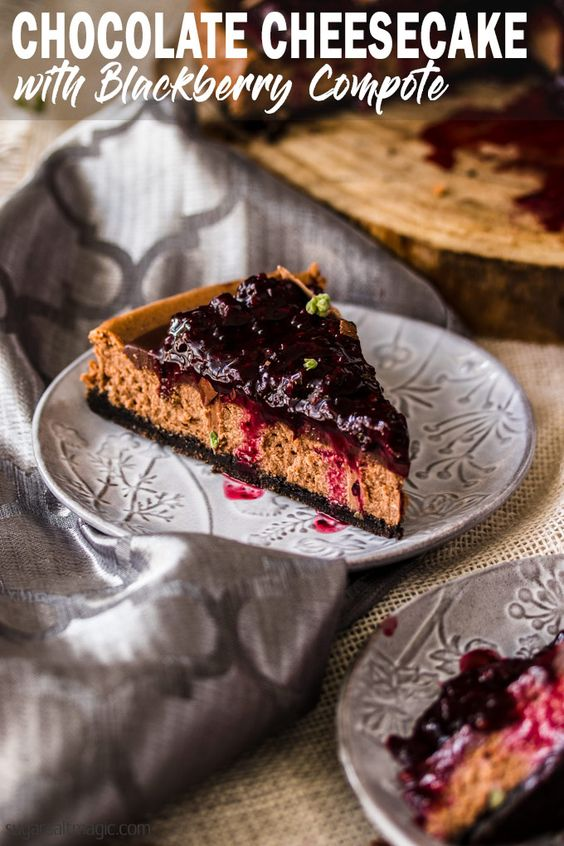 BAKED CHOCOLATE CHEESECAKE WITH BLACKBERRY COMPOTE     #Baked #Chocolate #Cheesecake with #Blackberry #Compote is an easy chocolate #cheesecake recipe that's tastes sublime and is simple to make. Tangy, creamy and totally melt in your mouth.