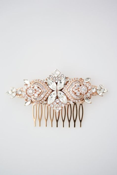 Boda accesorios oro rosa pelo peine cristal nupcial peine oro