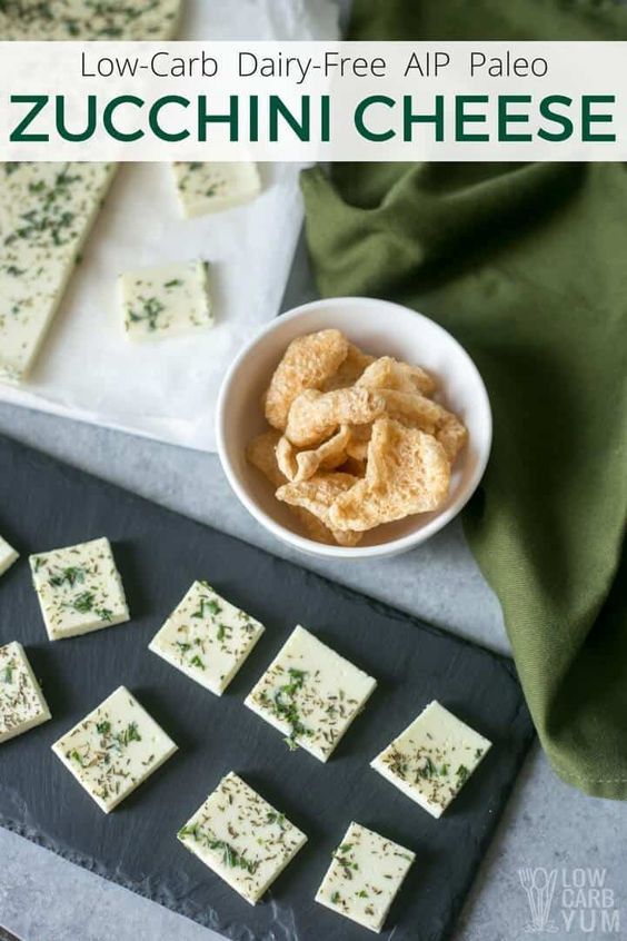 Dairy-free zucchini cheese is a great soy-free and nut-free alternative to cheese. It's perfect for those struggling with the strict AIP paleo diet. | LowCarbYum.com