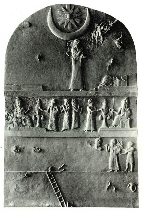 2,040 B.C. stele, top panel: mixed-breed giant King Ur-Nammu stands before giant alien god Nannar; middle panel: Ningal, Ur-Nammu, & Ninsun / Ninsun, Ur-Nammu, & Nannar; bottom panels: giant god, very large king, & much smaller earthling workers doing their assigned tasks benefiting the gods