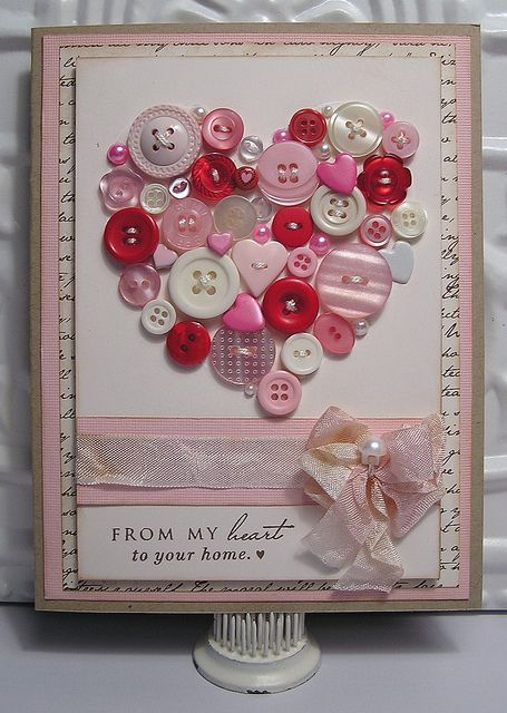 Button Heart Valentine Card