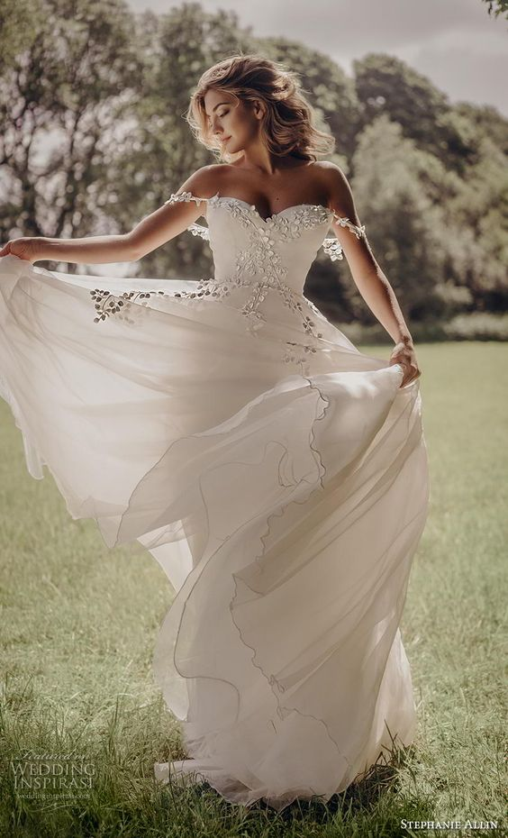 stephanie allin 2019 bridal off the shoulder sweetheart neckline heavily embellished bodice romantic a  line wedding dress mid back chapel train (10) mv -- Stephanie Allin 2019 Wedding Dresses | Wedding Inspirasi #wedding #weddings #bridal #weddingdress #bride ~