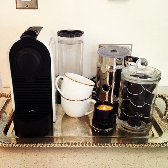 espresso station - I like the use of a tray to contain everything