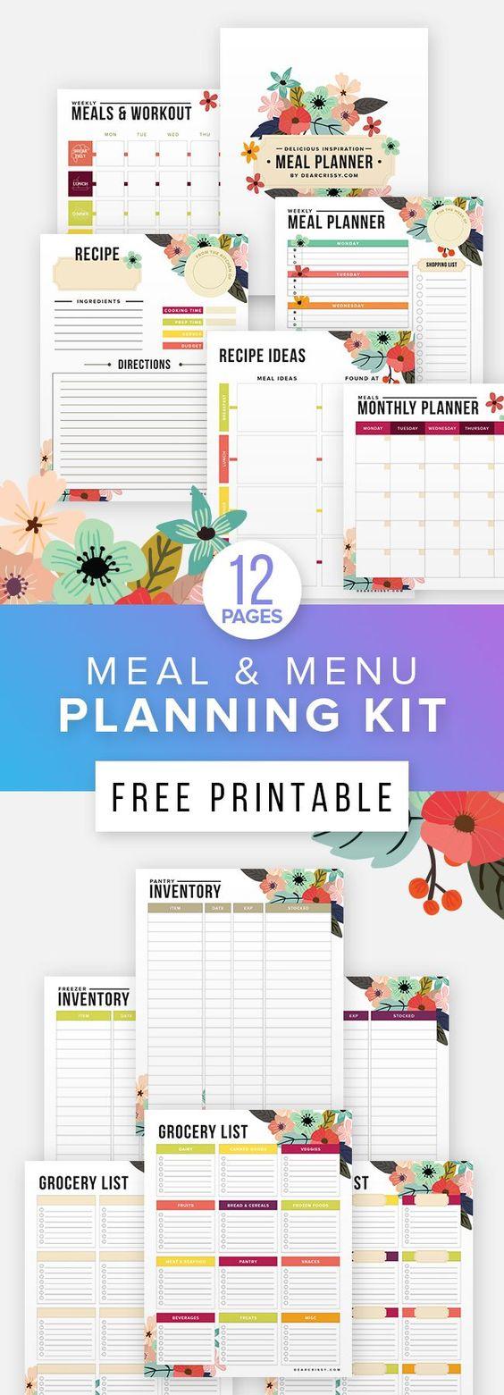 gratis printable maaltijden planner