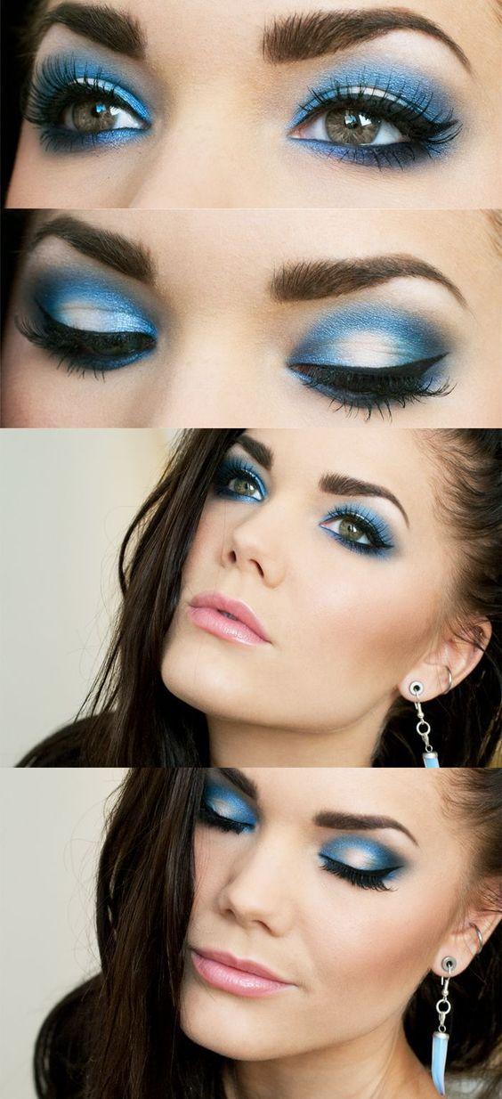 Ilustrasi makeup dengan eyeshadow warna intens