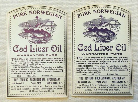 Early 1900s Pure Norwegian Cod Liver Oil Labels (2) Shows Lighthouse & Cod Fish #CodLiverOil