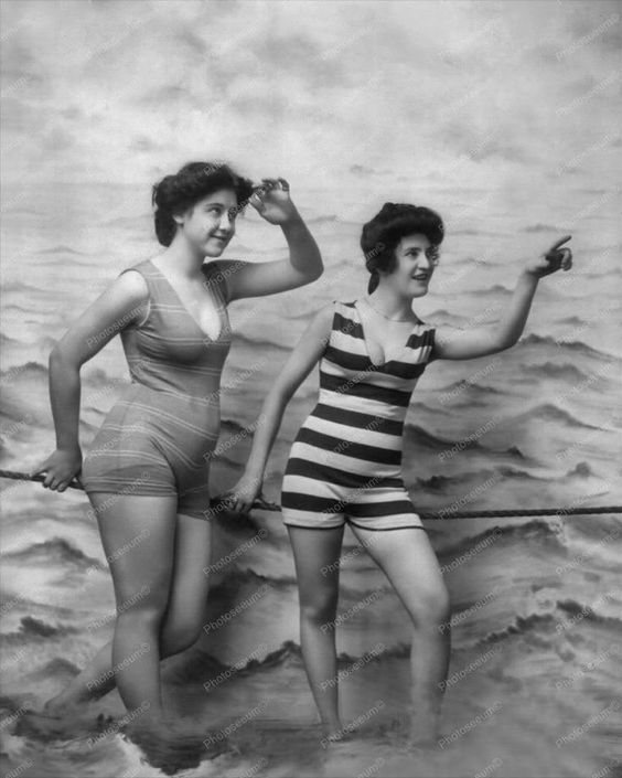 Two Women Posing in Bathing Suits Vintage