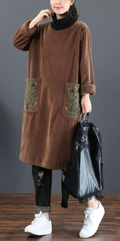 Loose High Neck Brushed Fleece Dresses For Women 5255