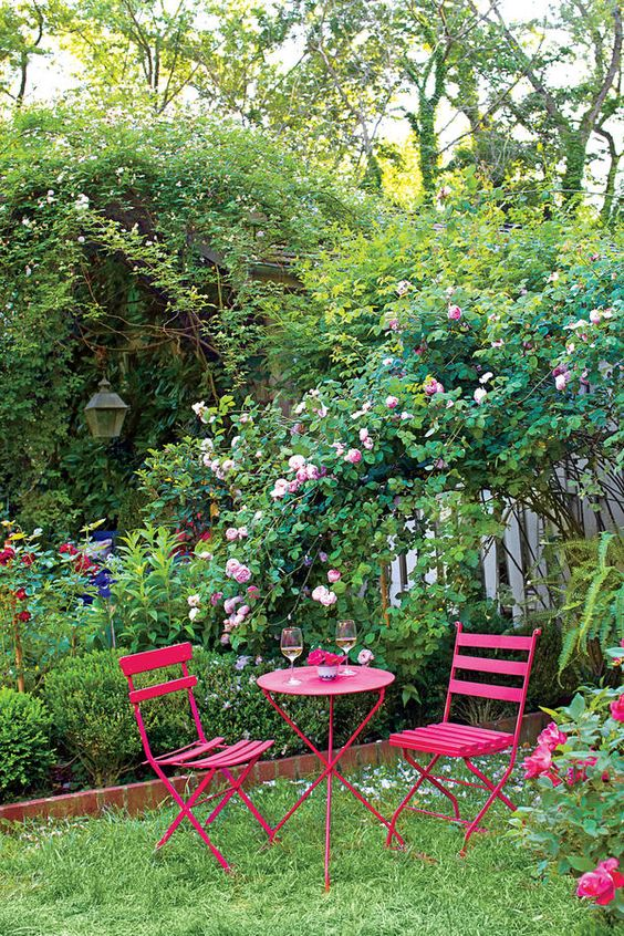 Bold Colors - An Entertainer's Garden - Southernliving. Johnson says to add color when there are no flowers by painting garden furniture and accent pieces. Before Johnson's daughter, Amanda, got married in the garden, she picked out this shocking pink color for the table and chairs.