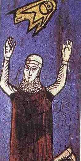 "This image of a crusader dates from a 12th century manuscript "" Annales Laurissenses"" (volumes/books about historical and religion events)and refer to a UFO sighting in the year 776, during the siege on Sigiburg castle, France. The Saxons besieged and surrounded the French people. They both were fighting when suddenly a group of discs (flaming shields) appeared hovering over the top of the church. It appeared to the Saxons that the French were protected by these objects and the Saxons fled."