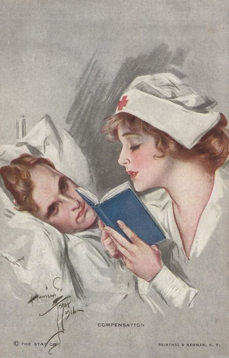 """Compensation"" (1916), by Harrison Fisher. WW I Red Cross nurse & soldier. During WW I, more than 18,000 Red Cross nurses served with the Army & Navy Nurse Corps. Some of these nurses worked at American base hospitals, at field units, & aboard ships, whereas others served at home combating the 1918 influenza epidemic & providing medical services to military camps, munitions plants, & shipyards."