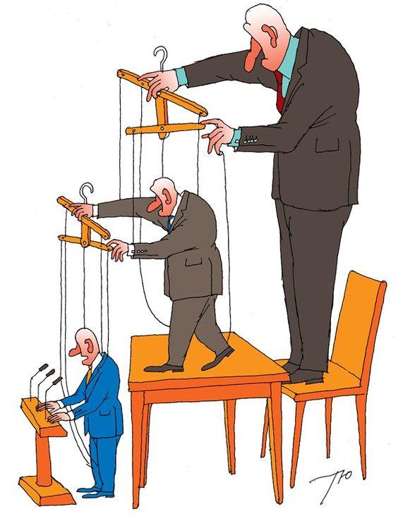 Political Cartoon Democrat Puppets | Puppet Hierarchy by Political Cartoonist Sergei Tunin