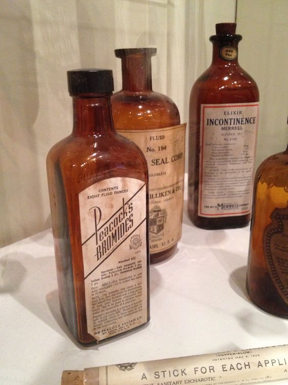 These are some 1800's medicine bottles. Victorian England was the first place that saw the actual creation, distribution, and sale of working medicine. Penicillin was one of the earliest medicines and was used to treat numerous bacterial infections.