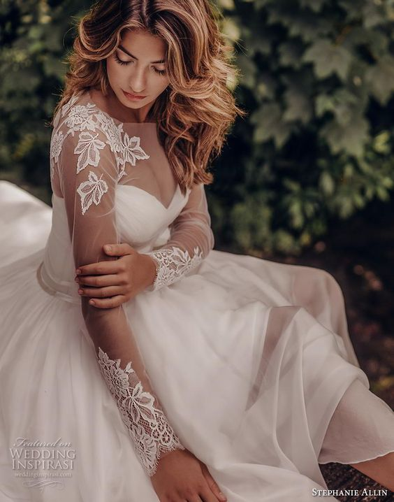 stephanie allin 2019 bridal long sleeves illusion bateau sweetheart neckline ruched bodice romantic soft a  line wedding dress mid back sweep train (5) zv -- Stephanie Allin 2019 Wedding Dresses | Wedding Inspirasi #wedding #weddings #bridal #weddingdress #bride ~