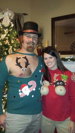 458e0ec0e05624 Hilarious reindeer couple sweater diy - 33 matching Christmas ugly sweater  ideas for couples - TodayWeDate