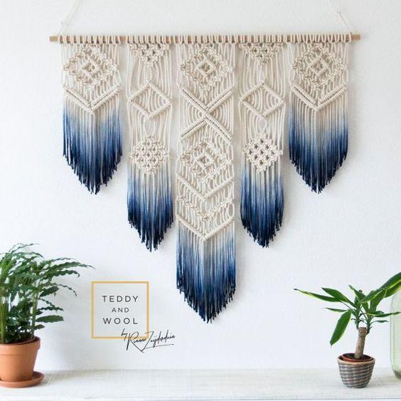 Macrame Wall Hanging - Macrame Curtain - Macrame Wall Art - Geometric Art - Wall Tapestry - Macrame