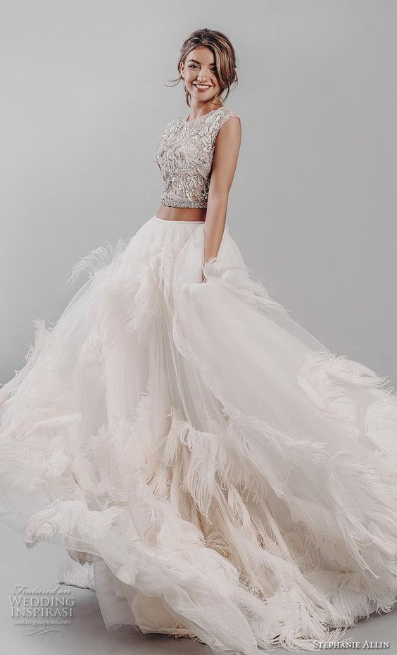 stephanie allin 2019 bridal cap sleeves jewel neck heavily embellished bodice ruffled skirt glitzy romantic glamorous a  line wedding dress sheer back (1) mv -- Stephanie Allin 2019 Wedding Dresses | Wedding Inspirasi #wedding #weddings #bridal #weddingdress #bride ~