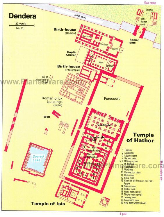 ANU-ET (Dendera) - Temple of Het Heru (7 Hathors) - Floor plan map
