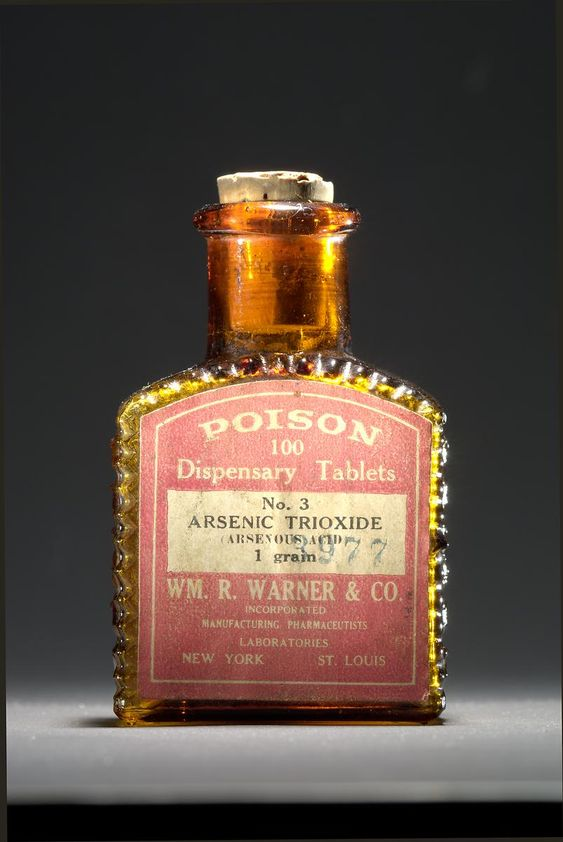 "Wm. R. Warner & Co., about 1900. Arsenic trioxide, a toxic substance employed in gold-mining and other industrial processes, was also used as a medicine in the 19th and 20th centuries (it is still used today to treat leukemia and other diseases). Bottles that featured raised ridges, skulls and crossbones, and the embossed word ""poison"" were designed so that people could distinguish poisons from other medicines, even in the dark. Smithsonian Institution"