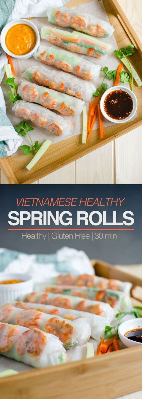 Vietnamese Healthy Spring Rolls With Peanut Butter Sauce