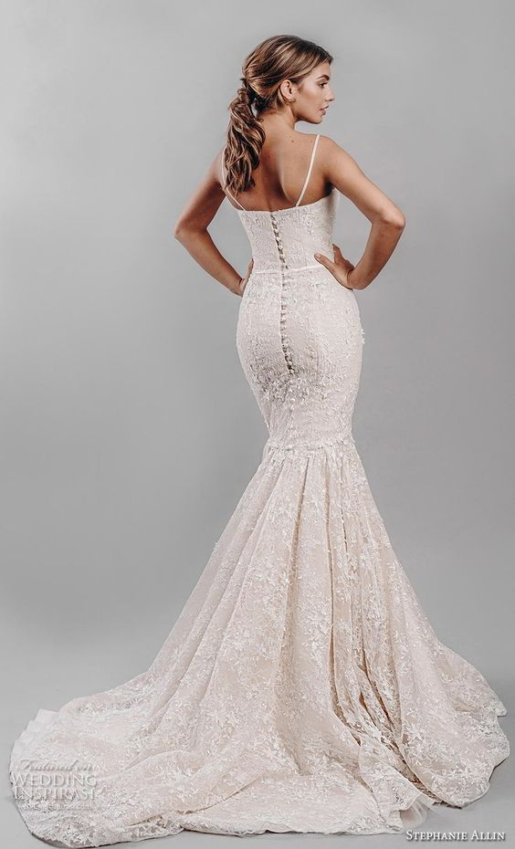 stephanie allin 2019 bridal sleeveless spaghetti strap sweetheart neckline full embellishment bustier sexy elegant blush mermaid wedding dress mid back chapel train (7) bv -- Stephanie Allin 2019 Wedding Dresses | Wedding Inspirasi #wedding #weddings #bridal #weddingdress #bride ~