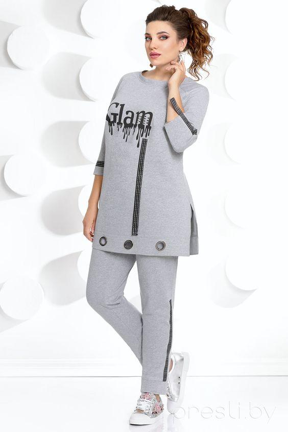 Комплект брючный Мублиз 252 серый Размерный ряд:54-58 Костюм женский двух предметный, состоящий из блузы и брюк.