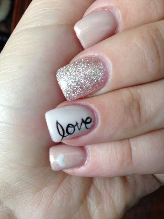 Nude & Glitter Wedding Nails for Brides #wedding #weddings #weddingideas #himisspuff