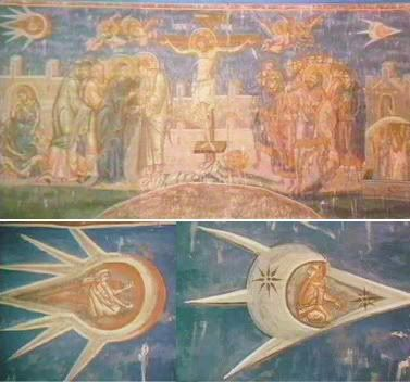 """The Crucifixion"" 1350, This painting depicts two UFOs with Aliens inside flying by Christs Crucifixion"