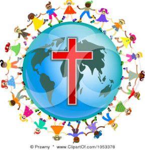 Christian New Year Clip Art   Free Clip Art Illustration Christian Kids Holding Hands Around Globe ...