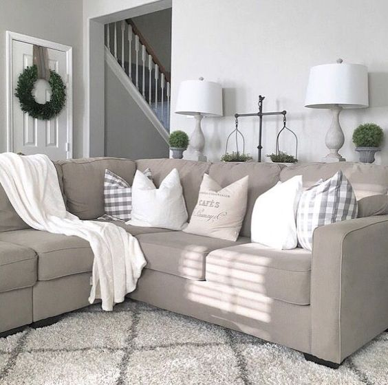 Farmhouse living room from Julie Warnock Interiors; modern farmhouse, farmhouse style