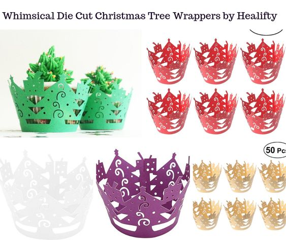 Whimsical Die Cut Christmas Tree Wrappers by Healifty