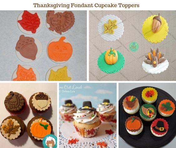 Thanksgiving Fondant Cupcake Toppers