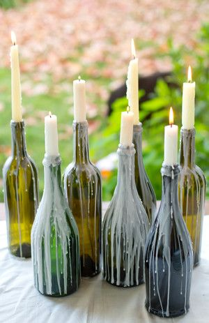 Moira Events & Design - Simple and romantic - glass bottles with candles/wax