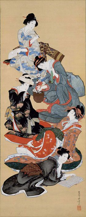 Hokusai: Five Beauties  Love the woman at the bottom. You can tell she's been…