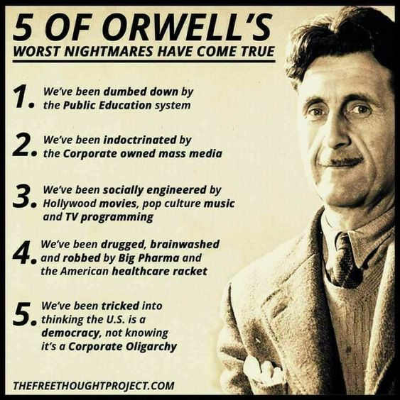 """""""1984"""" by Orwell is a book that should be read over and over. These 5 (and more) are in this book and are happening now in America. The Liberal Democrats are using it as a guide for their destruction of America."""