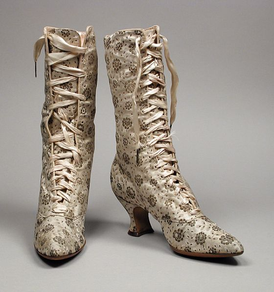Pair of Womans Boots Made Of Brocaded Silk Satin, Sueded Leather - American c.1889