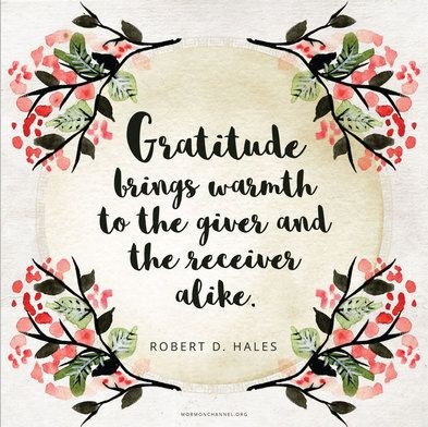 """Gratitude brings warmth to the giver and the receiver alike."""