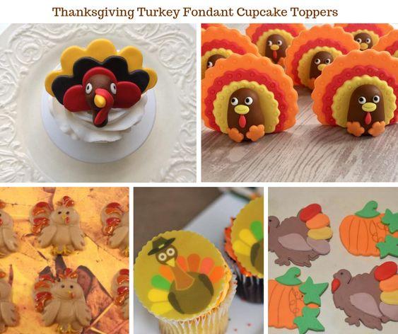 Thanksgiving Turkey Fondant Cupcake Toppers