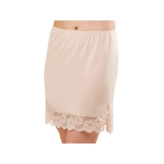 Lunaire Lace Hem Half Slip S52SN220K, Women's, Size: XL, Med Beige