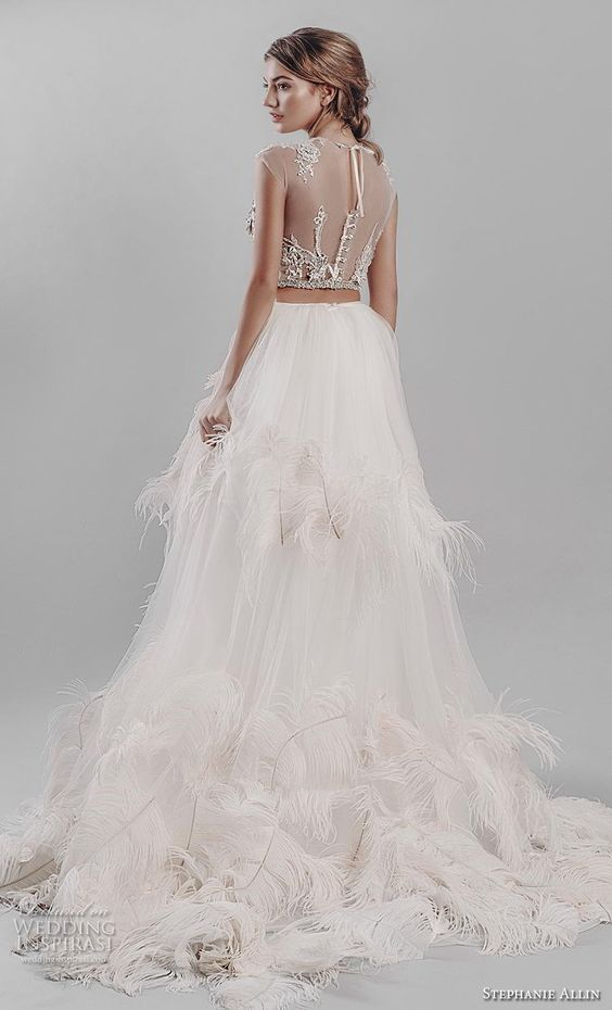 stephanie allin 2019 bridal cap sleeves jewel neck heavily embellished bodice ruffled skirt glitzy romantic glamorous a  line wedding dress sheer back (1) bv -- Stephanie Allin 2019 Wedding Dresses | Wedding Inspirasi #wedding #weddings #bridal #weddingdress #bride ~