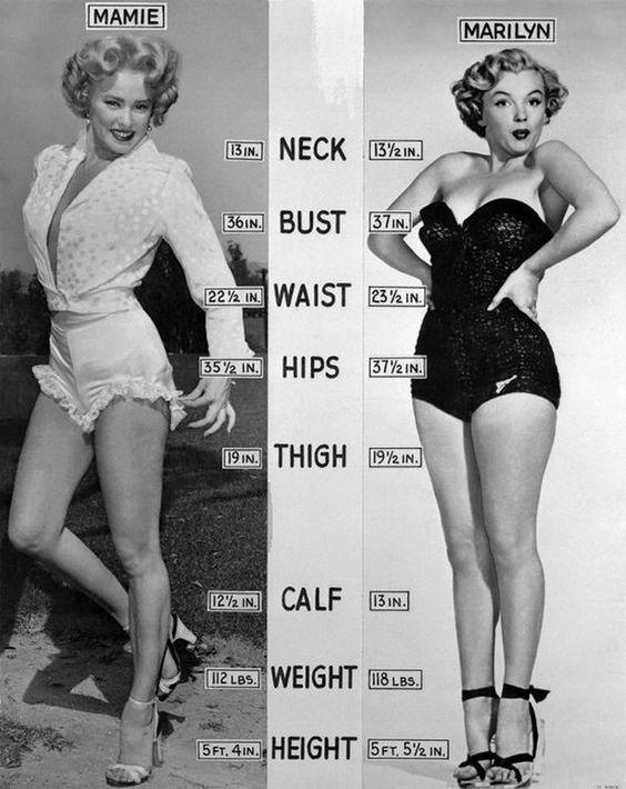 Dit zijn Mamie van Doren & Marilyn. Tegenwoordig zijn vooral meisjes heel veel bezig met hun lichaam. Iedereen wil dun zijn. In die tijd was dat nog niet de norm. Men vond het juist mooi als je wat rondingen had net zoals deze twee stijliconen.