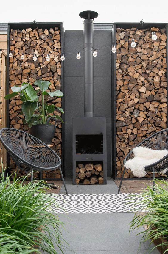 Outdoor modern fireplace