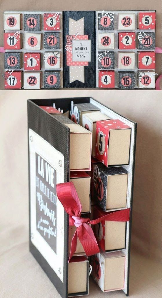 Folding advent calendar made with matchboxes - 18 Sweet DIY gift ideas for him - TodayWeDate.com