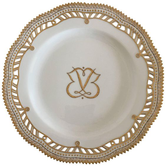 Royal Copenhagen Flora Danica Plate with Pierced Border and Monogram